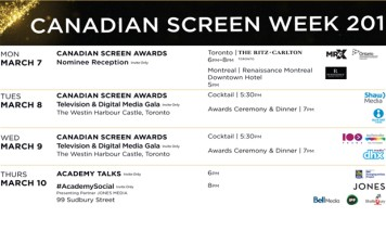 2016 Canadian Screen Week Schedule