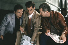 l-r: Joe Pesci as Tommy DeVito, Ray Liotta as Henry Hill and Robert De Niro as James Conway