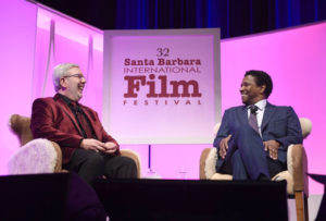 l-r Leonard Maltin & Denzel Washington - photo courtesy SBIFF